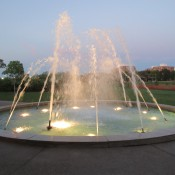 Sunset at Margery Enes Smith Soaring Waters fountain